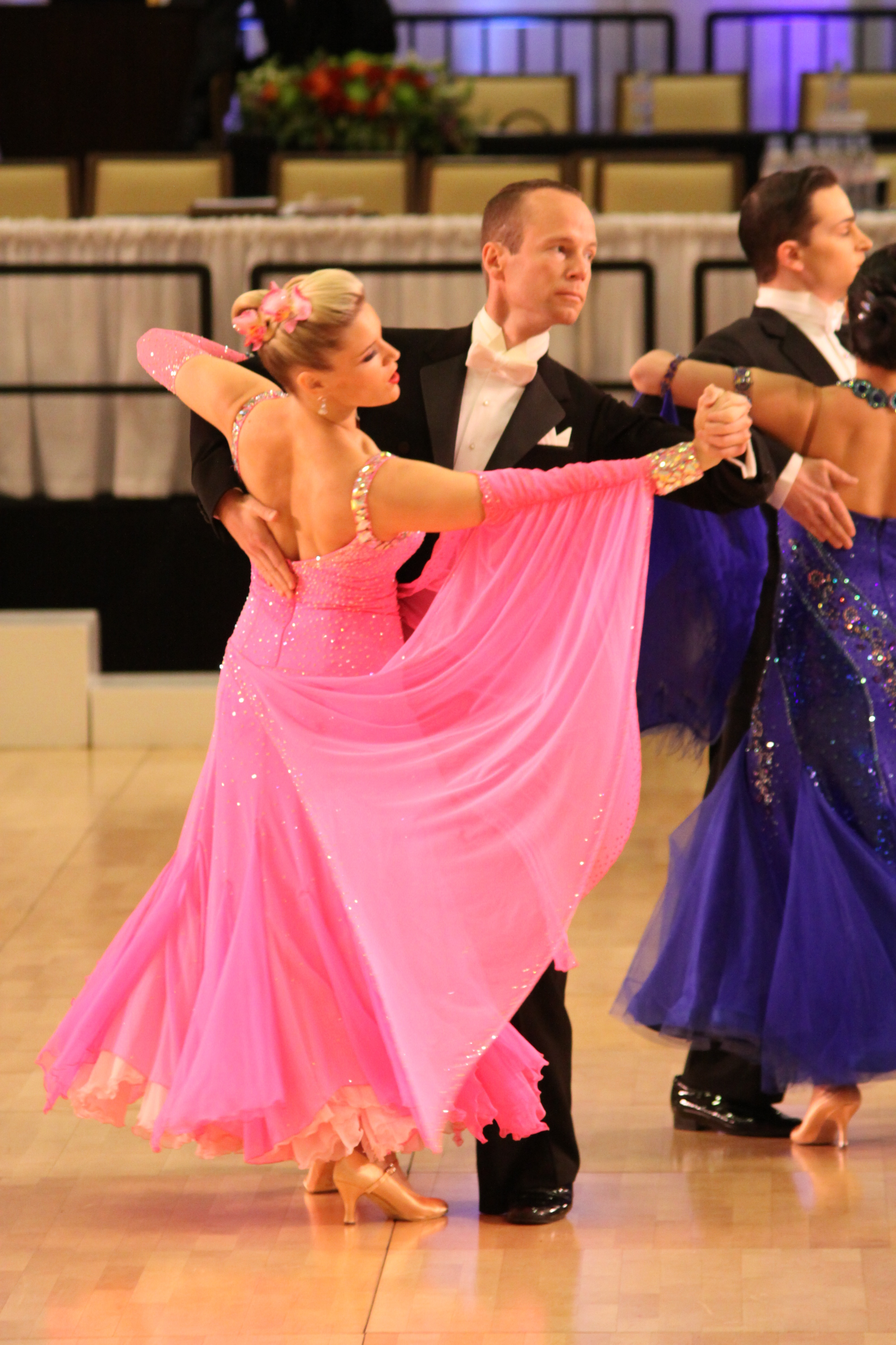 ballroom competition, pink gown