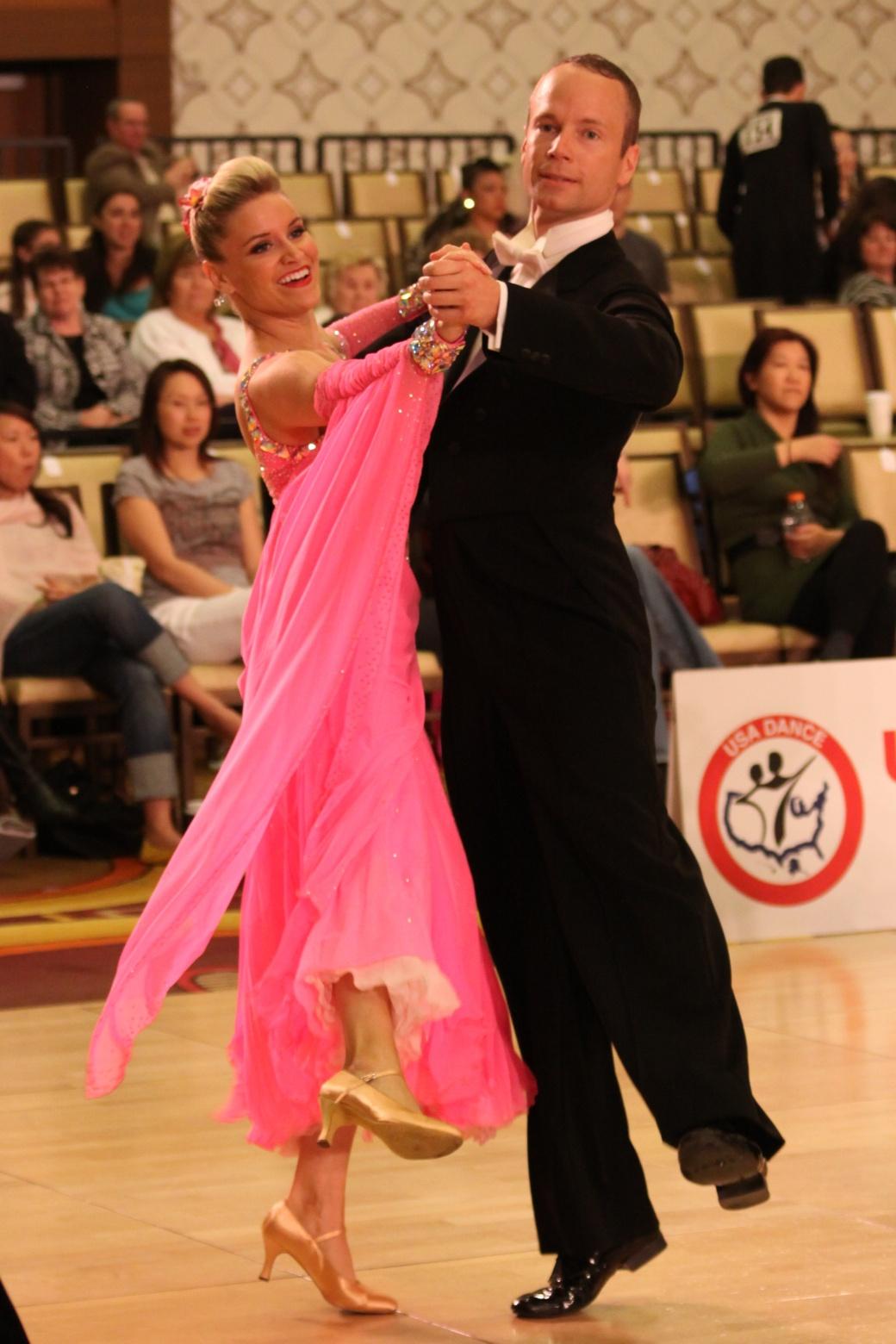 ballroom dancers, quickstep, pink gown