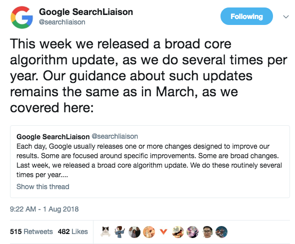 Google SearchLiaison on Twitter